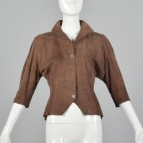 Small Jean Muir 1980s Suede Jacket Brown Leather Crop Sleeve Button Front Collared Outerwear