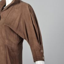 Small Jean Muir 1980s Suede Jacket Brown Leather Crop Sleeve Button Front Collared Outerwear  - Fashionconstellate.com