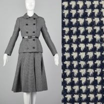 Medium Norman Norell 1970s Wool Skirt Suit Blue and White Houndstooth Tweed Double Breasted