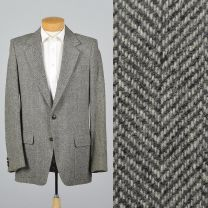 XL 43L 1990s Mens Herringbone Tweed Blazer Gray Wool Single Vent Patch Pockets Two Button Jacket
