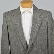 XL 43L 1990s Mens Herringbone Tweed Blazer Gray Wool Single Vent Patch Pockets Two Button Jacket - Fashionconstellate.com