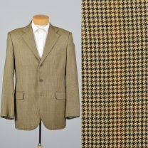 XL 43L 1990s Mens Plaid Italian Blazer Tan Double Vent Convertible Flap Pockets Sportcoat Jacket