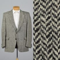 XL 44L 1970s Mens Blazer Harris Tweed Wool Jacket Gray Red Lined Single Vent Wide Lapels Sporcoat