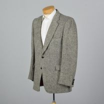 XL 44L 1970s Mens Blazer Harris Tweed Wool Jacket Gray Red Lined Single Vent Wide Lapels Sporcoat - Fashionconstellate.com