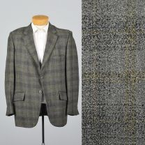 XL 43L 1960s Mens Blazer Gray Plaid Jacket Yellow Stripe Double Vent Convertible Pocket Sportcoat