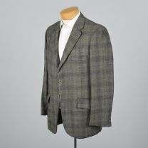 XL 43L 1960s Mens Blazer Gray Plaid Jacket Yellow Stripe Double Vent Convertible Pocket Sportcoat - Fashionconstellate.com