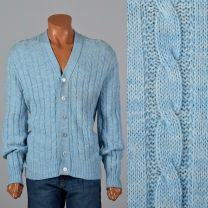 Large Light Blue Mens Cardigan 1960s Cable Knit V-Neck Sweater