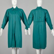 Medium Teal Coat 1980s Green Trench Coat with Quilted Thinsulate Lining