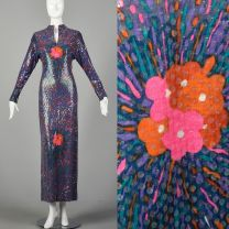 Small 1970s Malcom Starr Evening Gown Purple Sequin Long Sleeve Maxi Dress