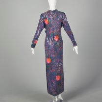 Small 1970s Malcom Starr Evening Gown Purple Sequin Long Sleeve Maxi Dress - Fashionconstellate.com