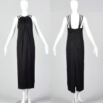 XXS 1960s Ceil Chapman Sleeveless Black Column Dress
