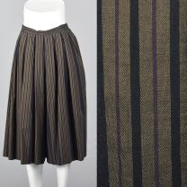 XS 1990s Pants Perry Ellis Wide Leg Culotte Gray and Black Stripes Pleated Gauchos