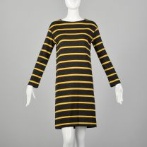 Small 1960s Goldworm Mod Striped Wool Knit Dress Long Sleeve Gray and Yellow