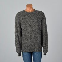 2XL-3XL Mens Gray Sweater 1980s Wool Crew Neck Long Sleeve Pullover