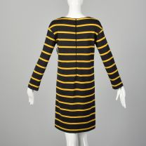 Small 1960s Goldworm Mod Striped Wool Knit Dress Long Sleeve Gray and Yellow - Fashionconstellate.com