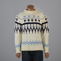 Medium Mens 1960s Sweater Cream and Blue Scandinavian Fair Isle Print Ribbed Knit Pullover