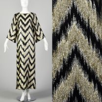 Small 1970s Kaftan Maxi Dress with Metallic Gold and Black ZigZag Pattern and Wide Sleeves