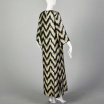 Small 1970s Kaftan Maxi Dress with Metallic Gold and Black ZigZag Pattern and Wide Sleeves - Fashionconstellate.com