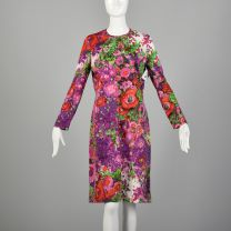 XL 1970s Goldworm Knit Dress Long Sleeve with Floral Print