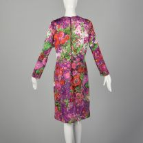 XL 1970s Goldworm Knit Dress Long Sleeve with Floral Print - Fashionconstellate.com