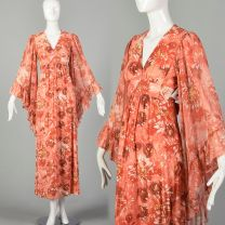 XS 1960s Pink Floral Print Boho Maxi Dress with Angel Sleeves and Tieback Waist