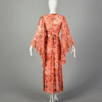 XS 1960s Pink Floral Print Boho Maxi Dress with Angel Sleeves and Tieback Waist - Fashionconstellate.com