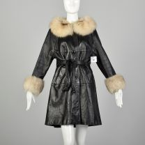 Medium 1960s Black Leather Trench Coat with Fox Fur Trim Winter Outerwear