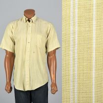 XL 1950s MensShirt  Short Sleeve Yellow White Striped Patch Pocket Round Bottom Collared Button Down