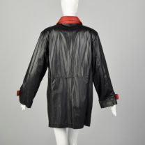 XL 1980s Black Leather Jacket Double Breasted with Red Trim Autumn Outerwear  - Fashionconstellate.com
