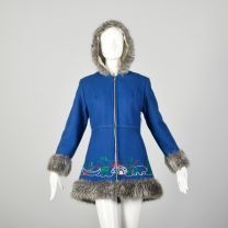 Small 1960s Mod Blue Novelty Coat Faux Fur with Embroidery Winter Outerwear