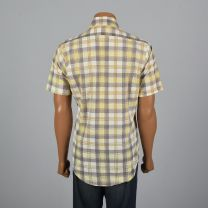 Large 1970s Mens Distressed Plaid Shirt Short Sleeve Patch Pocket Collared Yellow Gray Button Down - Fashionconstellate.com