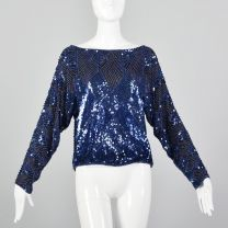 Medium 1980s Oleg Cassini Beaded Sequined Blouse Silk Blue Long Sleeve Party New Years