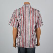 Medium 1980s Mens Crinkle Texture Stripe Shirt Short Sleeve Square Cut Red Black Button Down - Fashionconstellate.com