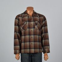 XL 1960s Mens Pendleton Wool Plaid Shirt Long Sleeve Square Cut Patch Pockets Brown Red Button Down