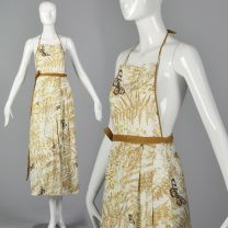 1970s Vera Deadstock Convertible Apron Matching Tablecloth Wrap Skirt Vintage Kitchen Linens