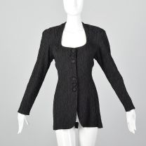 XS 1980s Hollys Harp Black Low Cut Jacket Squared Neckline Decorative Buttons Snap Front