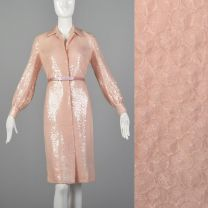 1970s Bill Blass Pink Sequin Dress Long Sleeve Evening Cocktail Party Sparkly Designer