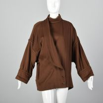 Small 1980s Jacket Emanuel Ungaro Brown Oversized Coat Silver buttons High Collar Asymmetrical