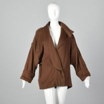 Small 1980s Jacket Emanuel Ungaro Brown Oversized Coat Silver buttons High Collar Asymmetrical  - Fashionconstellate.com