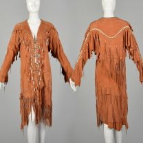 Native American Inspired Suede Leather Dress Bohemian Beaded Fringe Festival Jacket