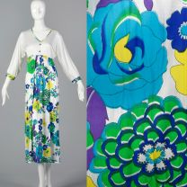 XS 1970s Nightgown White Nylon Long Sleeve Green Blue and Purple Floral Print Sleepwear