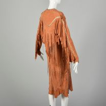 Native American Inspired Suede Leather Dress Bohemian Beaded Fringe Festival Jacket  - Fashionconstellate.com