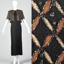 Large 1990s Black Beaded Maxi Dress Faux Jacket Brown Embroidery