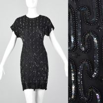 XXS 1990s Black Silk Sequin Cocktail Dress with Short Sleeves