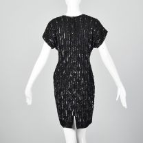 XXS 1990s Black Silk Sequin Cocktail Dress with Short Sleeves - Fashionconstellate.com
