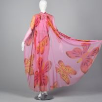 XXS 1960s Silk Jumpsuit with Cape Hot Pink Novelty Butterfly Print Chiffon Long Sleeve Vegas Winner - Fashionconstellate.com