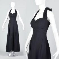 Small 1990s Black Halter Dress with Sweetheart Neck
