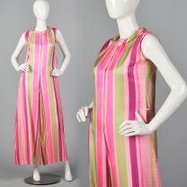 Medium Jumpsuit Pink and Green Striped Wide Leg Palazzo Pants