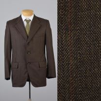 42R Large Mens 1970s Blazer Brown Stripe Pinstripe Three Button Single Vent Sportcoat Jacket