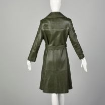 Small 1970s Green Leather Boho Trench Coat Topstitch Autumn Outerwear - Fashionconstellate.com
